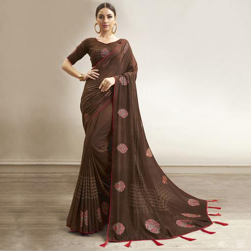 Amazing Coffee Brown Colored Party Wear Embroidered Chanderi Silk Saree
