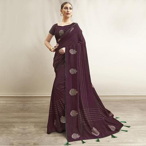 Gorgeous Purple Colored Party Wear Embroidered Chanderi Silk Saree