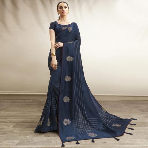 Blissful Navy Blue Colored Party Wear Embroidered Chanderi Silk Saree