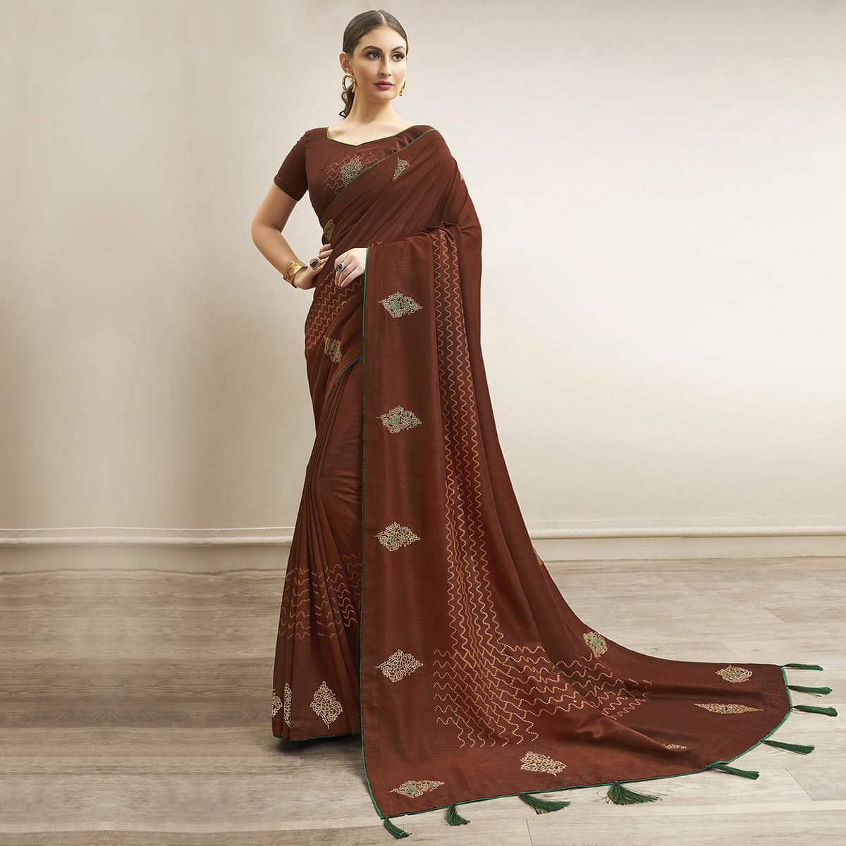 Ideal Brown Colored Party Wear Embroidered Chanderi Silk Saree
