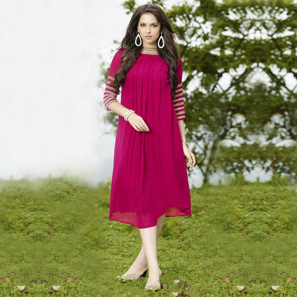 Hot Pink High Neck Georgette Kurti