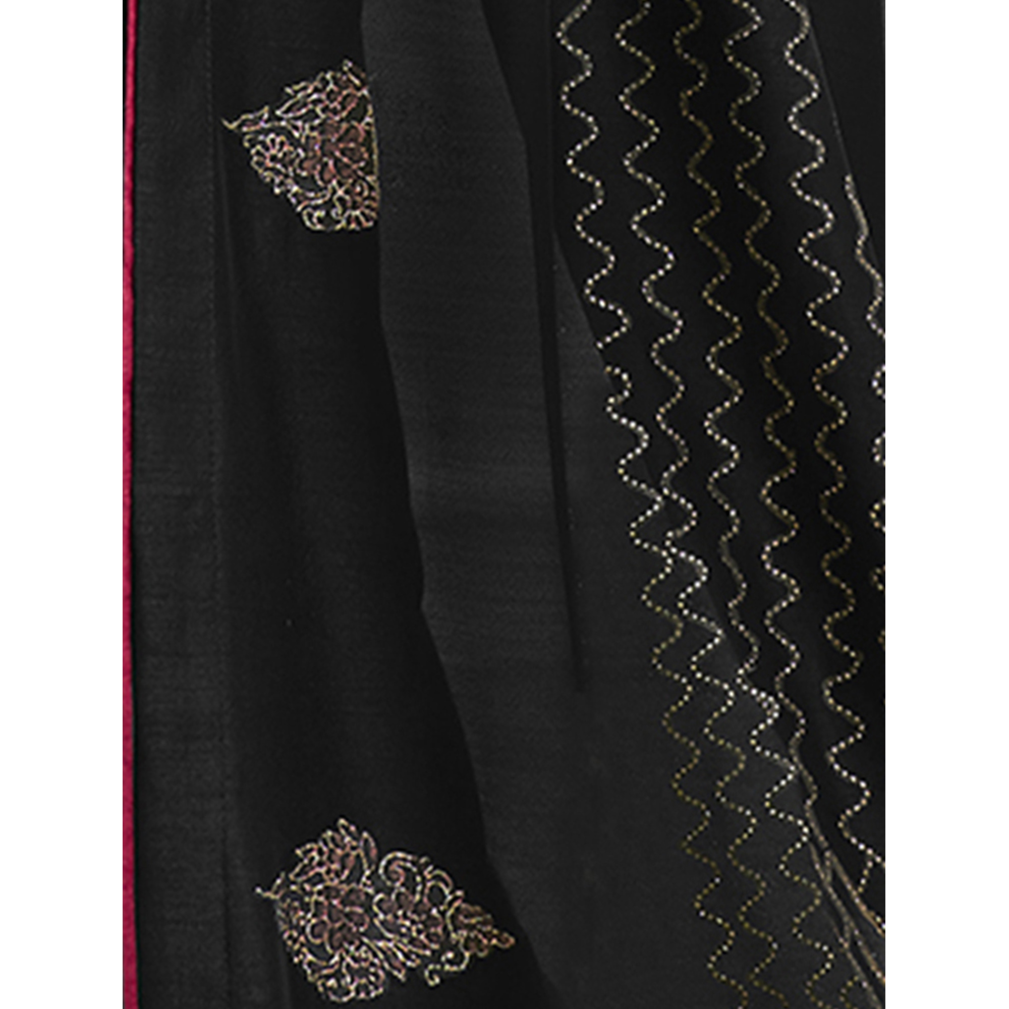 Lovely Black Colored Party Wear Embroidered Chanderi Silk Saree