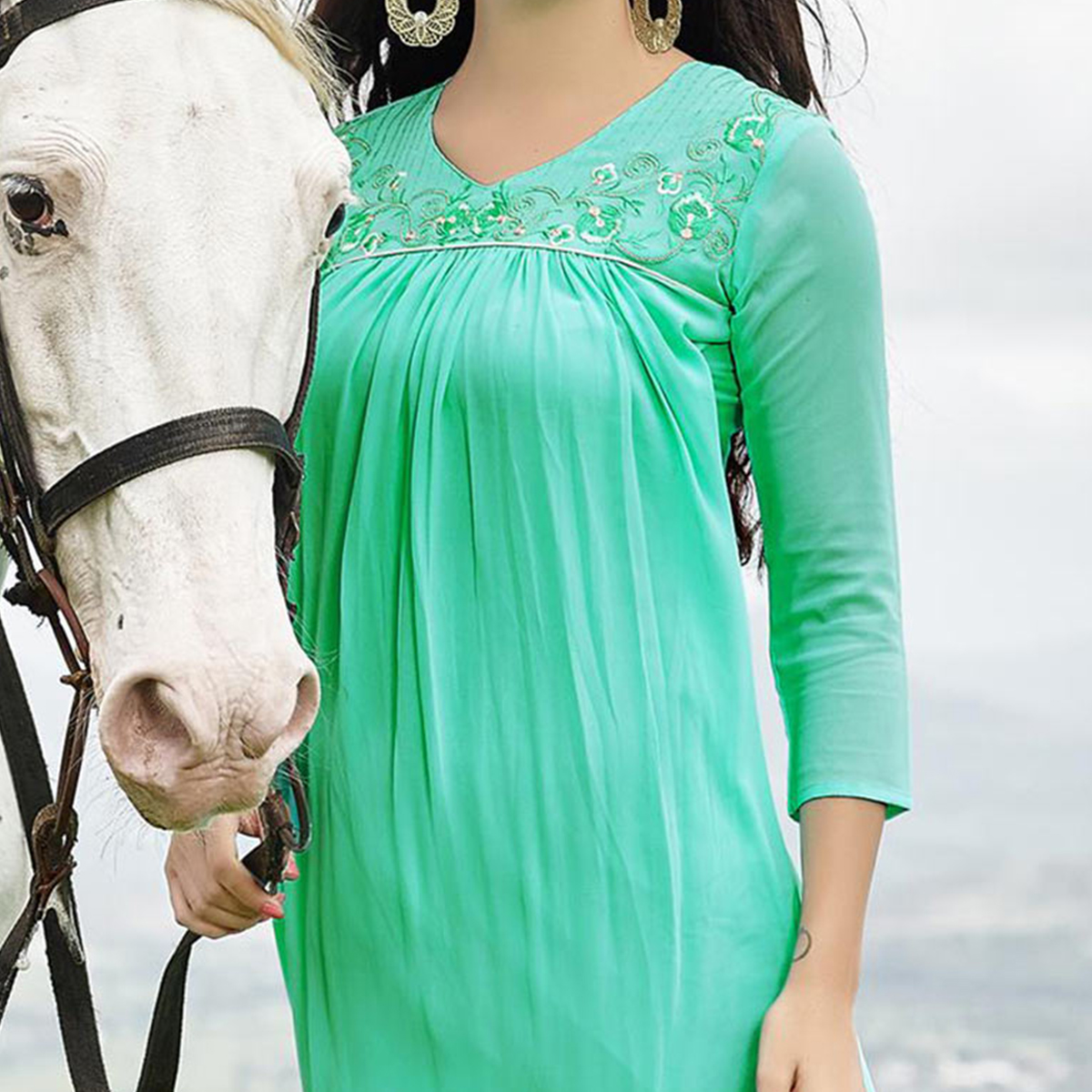 Aqua Green Stitched Georgette Kurti