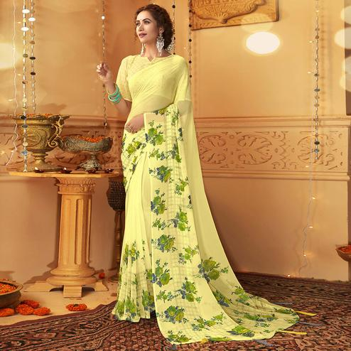 Surpassing Yellow Colored Casual Wear Printed Georgette Saree