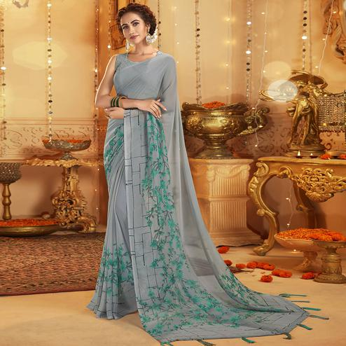 Intricate Grey Colored Casual Wear Printed Georgette Saree