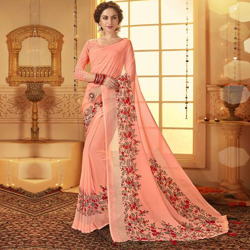 Arresting Pink Colored Casual Wear Printed Georgette Saree