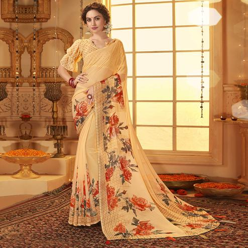 Exotic Beige Colored Casual Wear Printed Georgette Saree
