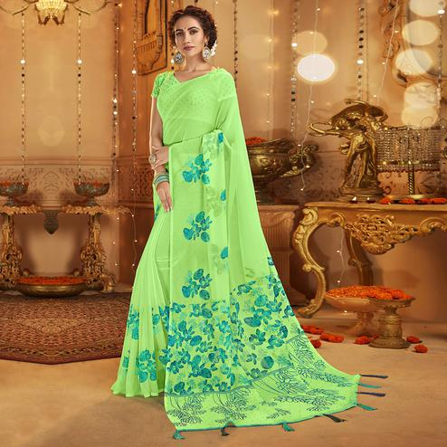 Trendy Lime Green Colored Casual Wear Printed Georgette Saree