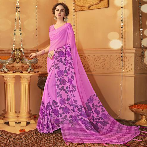 Elegant Light Purple Colored Casual Wear Printed Georgette Saree