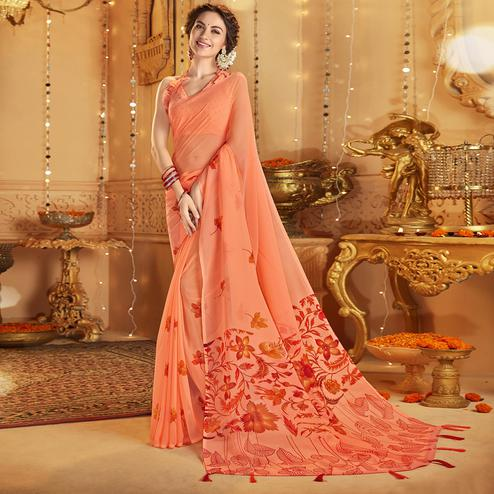 Radiant Peach Colored Casual Wear Printed Georgette Saree