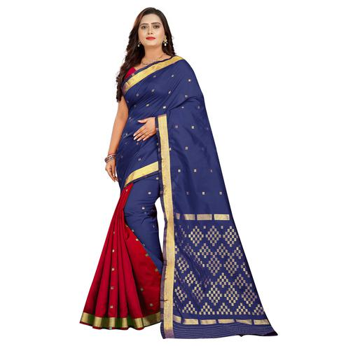 Exclusive Navy Blue-Red Colored Festive Wear Woven Silk Half-Half Saree