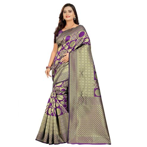 Imposing Purple Colored Festive Wear Woven Silk Saree