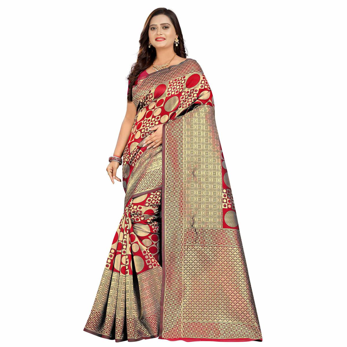 Blissful Red Colored Festive Wear Woven Silk Saree