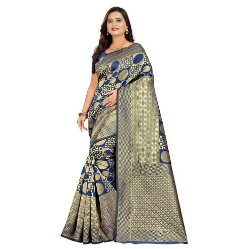 Gorgeous Blue Colored Festive Wear Woven Silk Saree