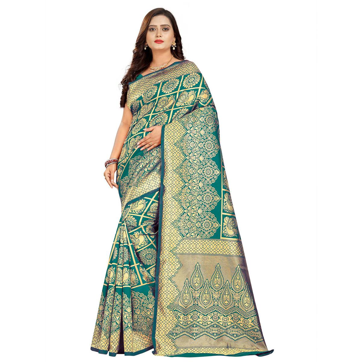 Engrossing Turquoise Green Colored Festive Wear Woven Silk Saree