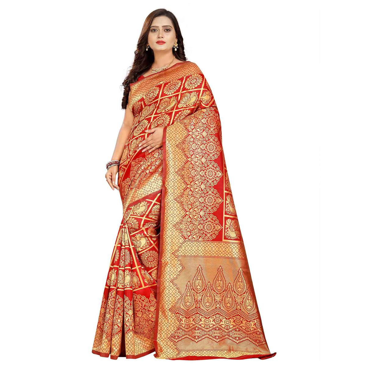 Captivating Red Colored Festive Wear Woven Silk Saree