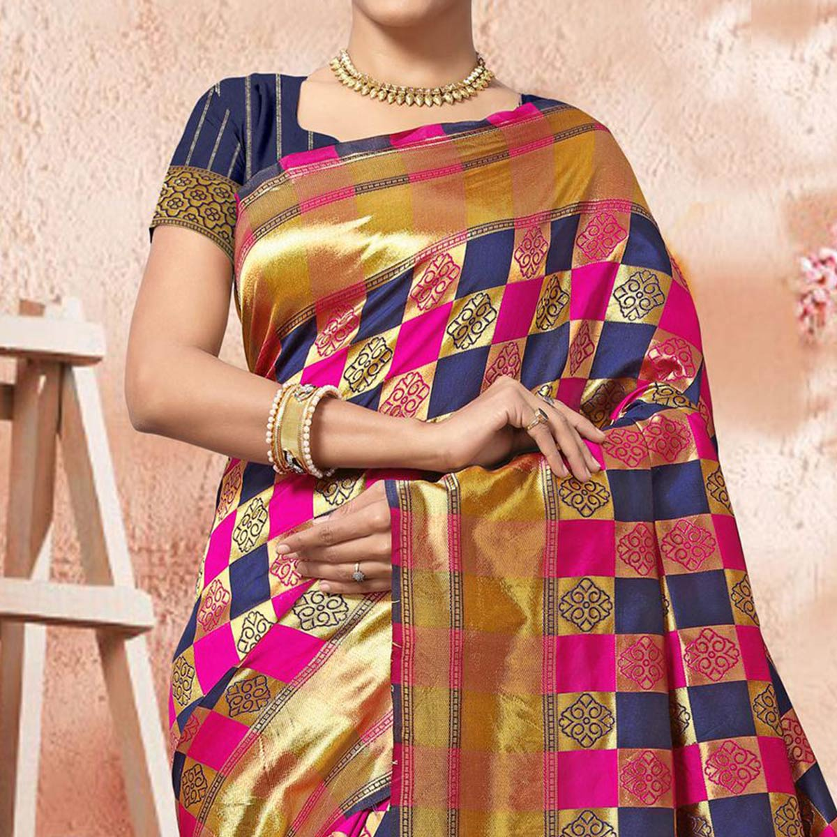 Classy Pink-Navy Blue Colored Festive Wear Woven Silk Saree