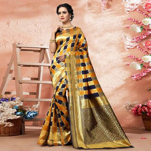 Prominent Yellow-Navy Blue Colored Festive Wear Woven Silk Saree