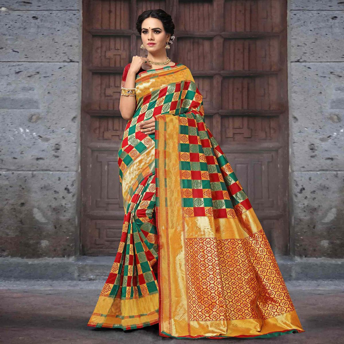Appealing Firozi-Red Colored Festive Wear Woven Silk Saree