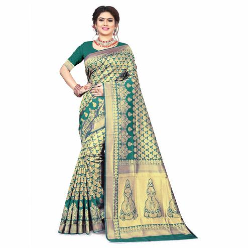 Amazing Turquoise Green Colored Festive Wear Woven Silk Saree