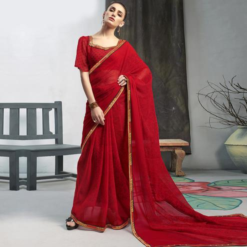 Energetic Red Colored Casual Wear Printed Georgette Saree