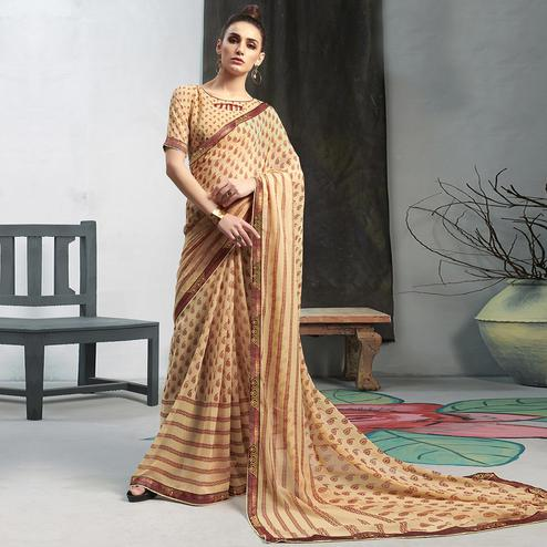 Exceptional Beige Colored Casual Wear Printed Georgette Saree