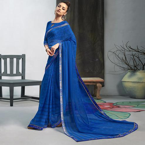 Mesmeric Blue Colored Casual Wear Printed Georgette Saree