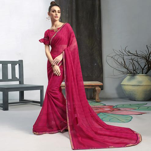 Unique Pink Colored Casual Wear Printed Georgette Saree