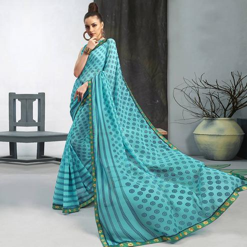Demanding Sky Blue Colored Casual Wear Printed Georgette Saree