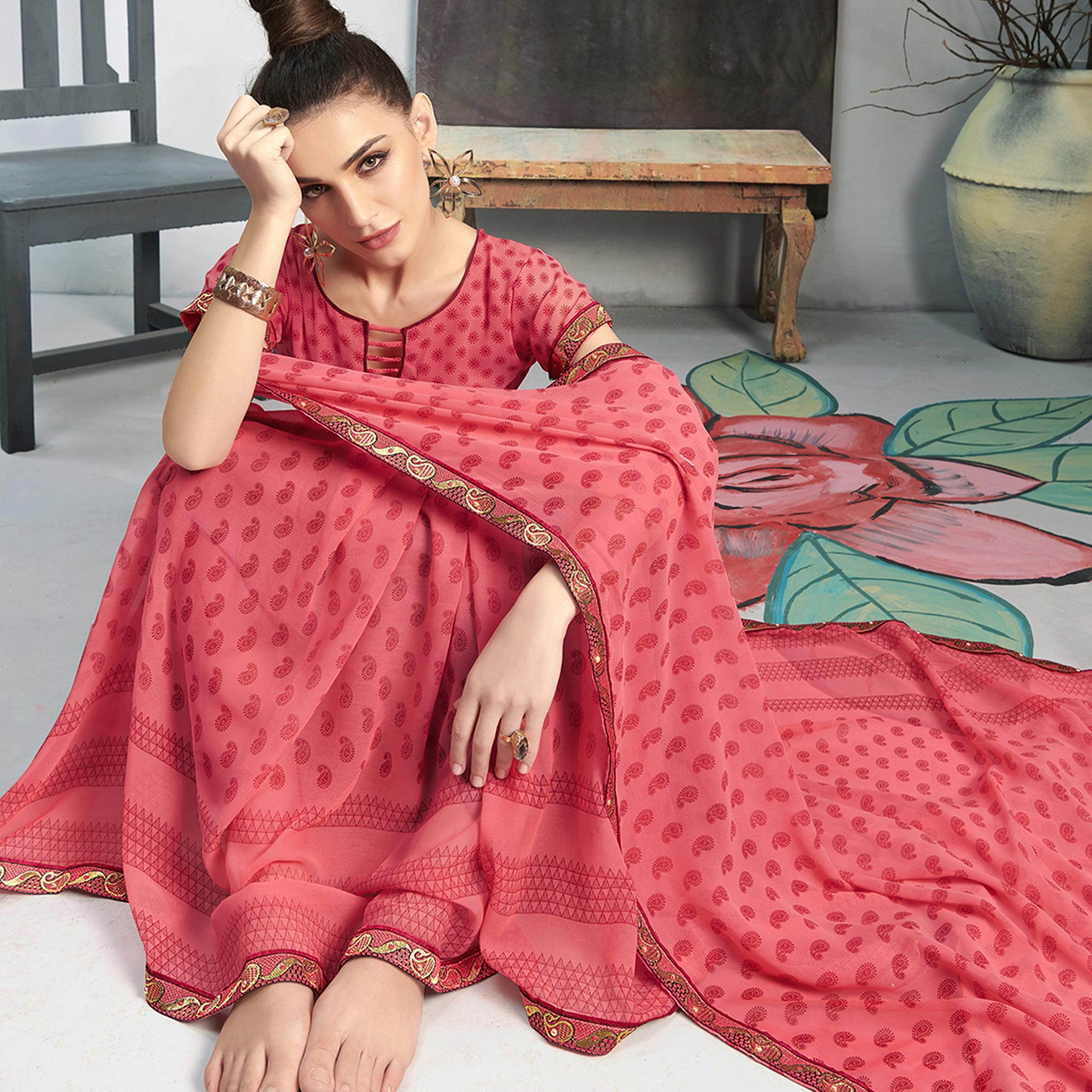 Refreshing Pink Colored Casual Wear Printed Georgette Saree