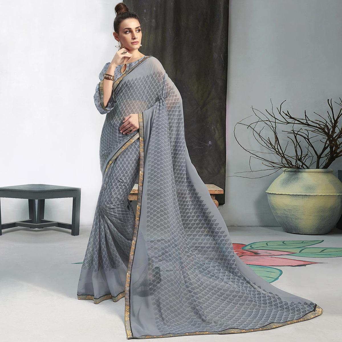 Magnetic Grey Colored Casual Wear Printed Georgette Saree