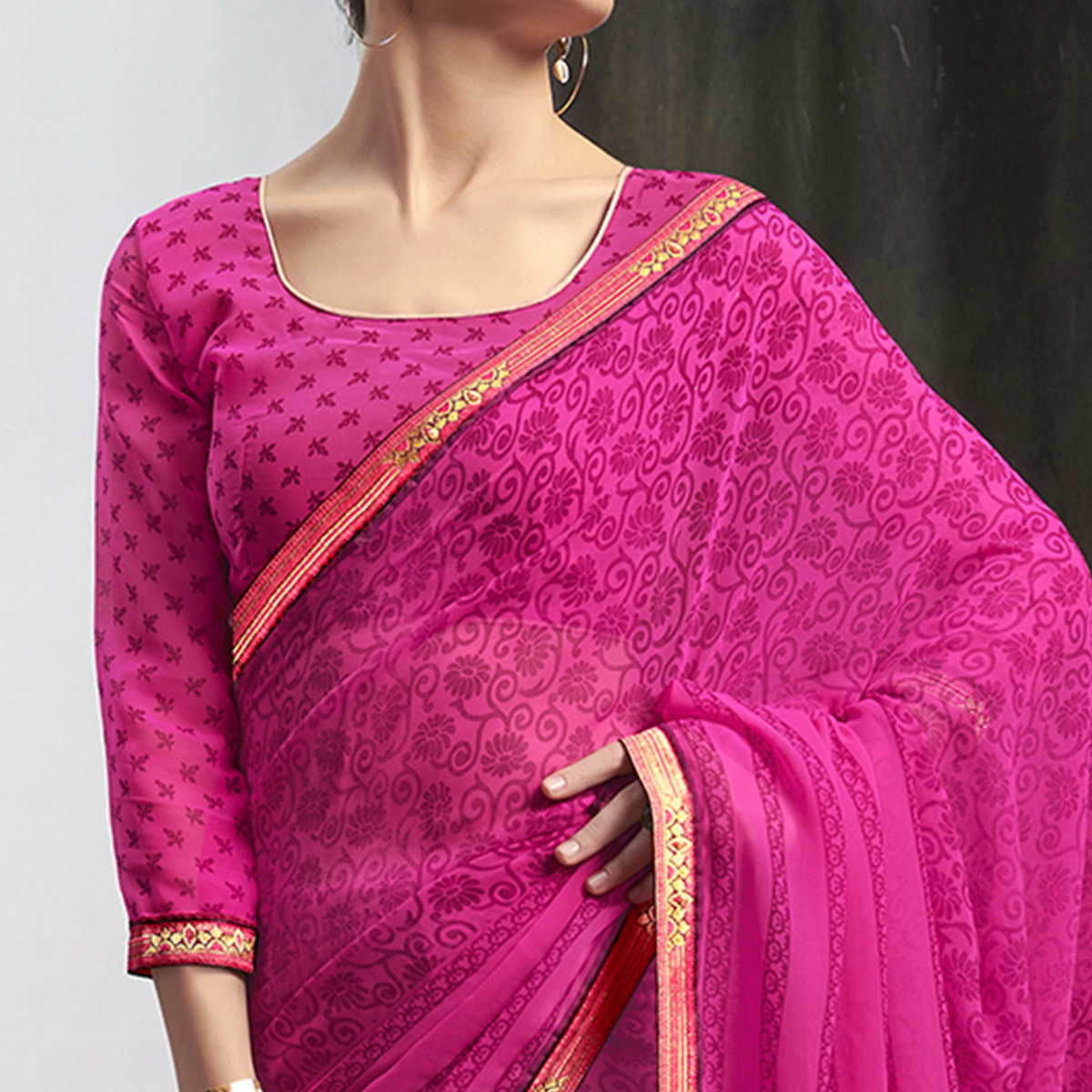 Hypnotic Magenta Pink Colored Casual Wear Printed Georgette Saree