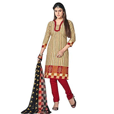 Beige - Red Pure Cotton Dress Material
