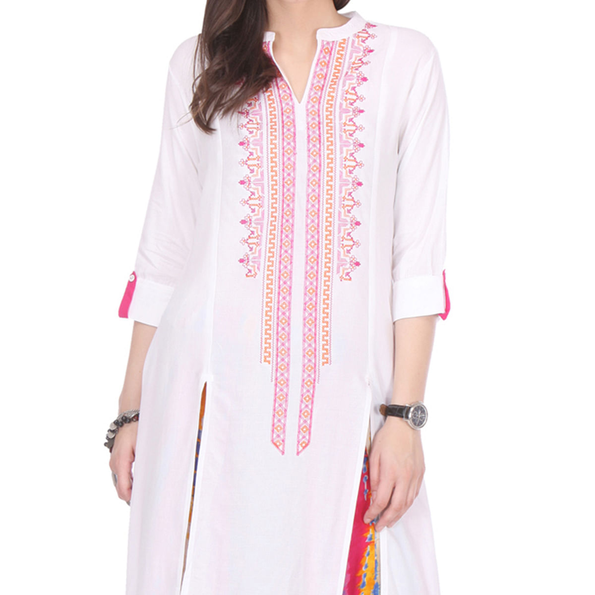 White Casual Kurti - multicolored Printed Palazzo