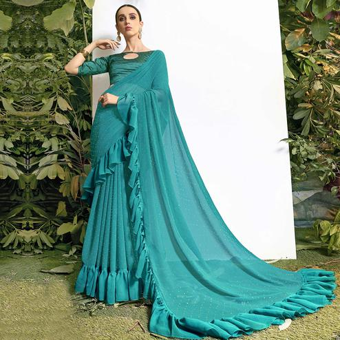 Flaunt Sky Blue Colored Party Wear Embroidered Chiffon Saree