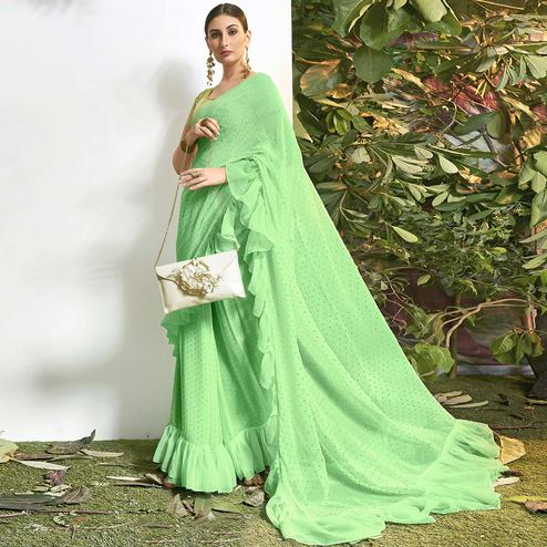 Stunning Light Green Colored Party Wear Embroidered Chiffon Saree