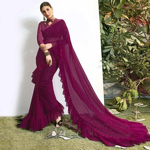 Flirty Magenta Pink Colored Party Wear Embroidered Chiffon Saree