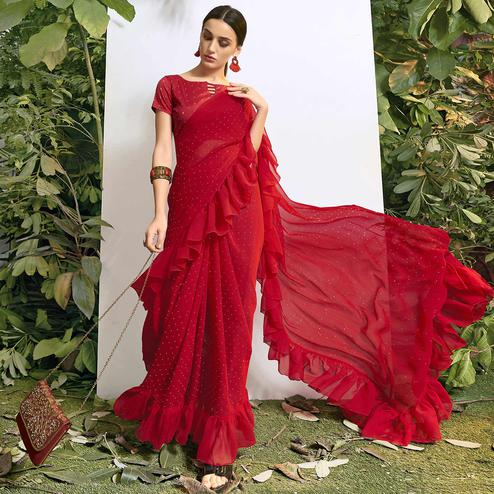 Classy Red Colored Party Wear Embroidered Chiffon Saree