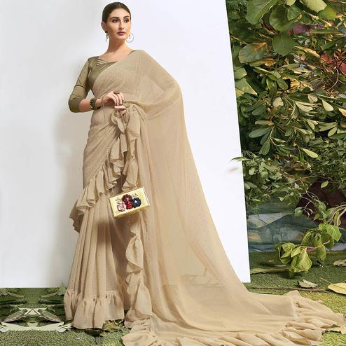 Appealing Beige Colored Party Wear Embroidered Chiffon Saree