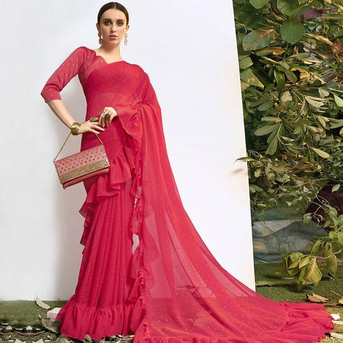 Capricious Pink Colored Party Wear Embroidered Chiffon Saree