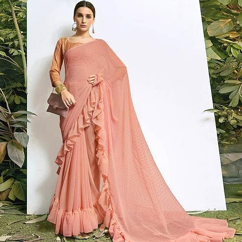 Entrancing Peach Colored Party Wear Embroidered Chiffon Saree