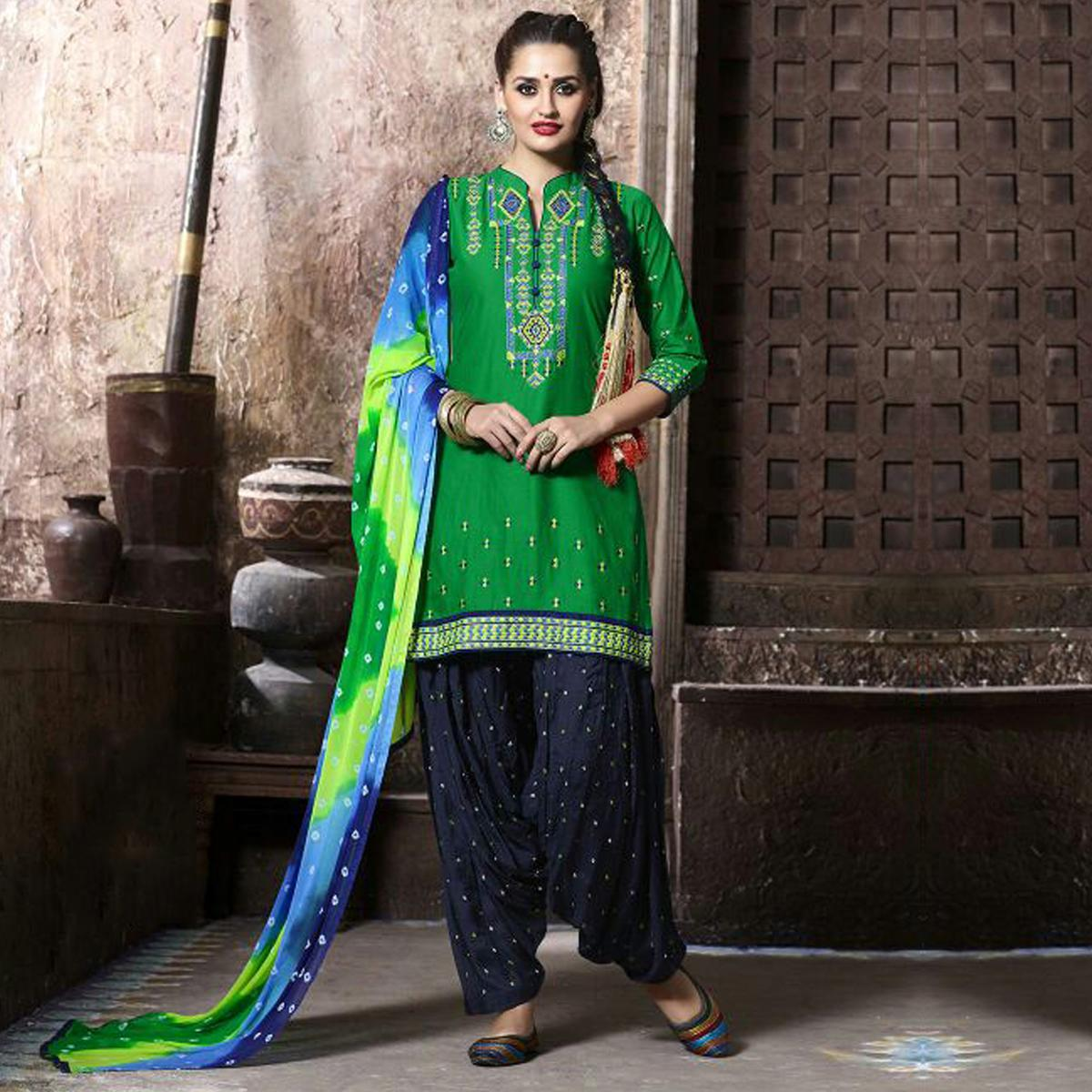 Green Pure Cotton Patiala Suit