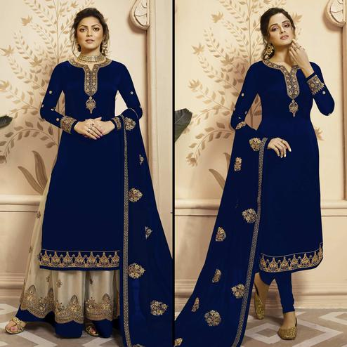 Arresting Blue Colored Partywear Embroidered Georgette-Satin Dual Bottom Suit
