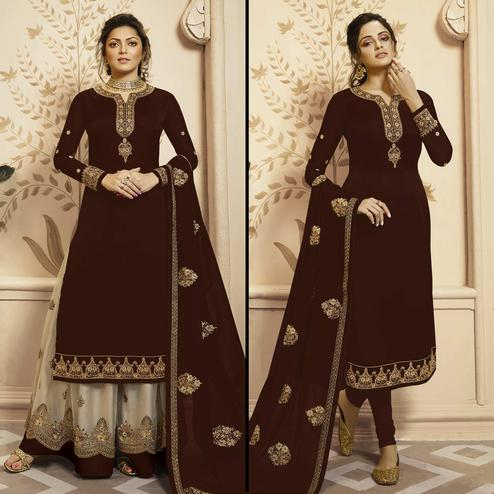 Prominent Brown Colored Partywear Embroidered Georgette-Satin Dual Bottom Suit