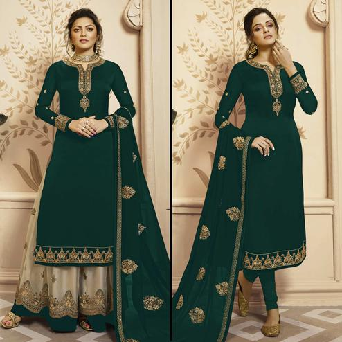 Appealing Green Colored Partywear Embroidered Georgette-Satin Dual Bottom Suit