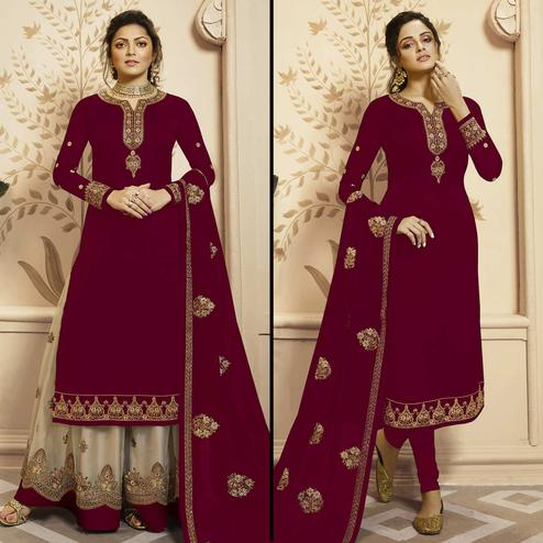 Desirable Maroon Colored Partywear Embroidered Georgette-Satin Dual Bottom Suit