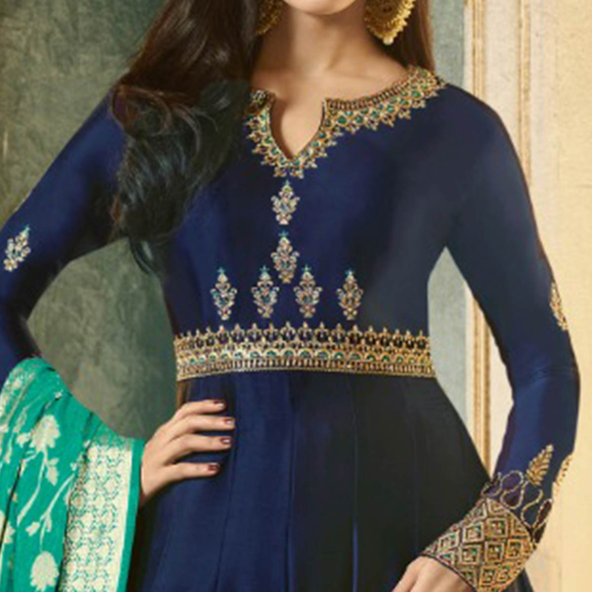 Adorable Navy Blue Colored Party Wear Embroidered Satin-Georgette Anarkali Suit
