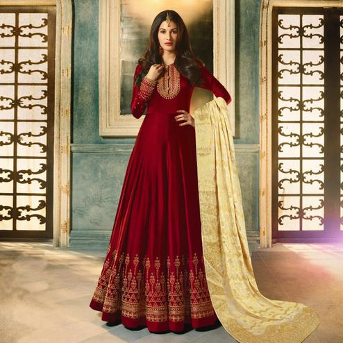 Glorious Maroon Colored Party Wear Embroidered Satin-Georgette Anarkali Suit