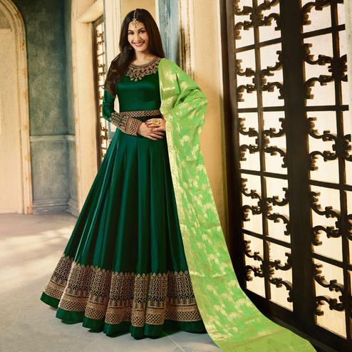 Attractive Green Colored Party Wear Embroidered Satin-Georgette Anarkali Suit