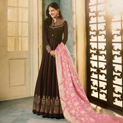 Beautiful Brown Colored Party Wear Embroidered Satin-Georgette Anarkali Suit